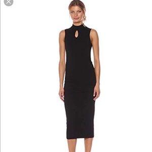 Michael Stars Cotton Lyrca Mock Neck Midi Dress